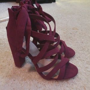 7a7b0226a11 torrid Shoes - WINE STRAPPY LACE-UP HEEL SANDAL (WIDE WIDTH)